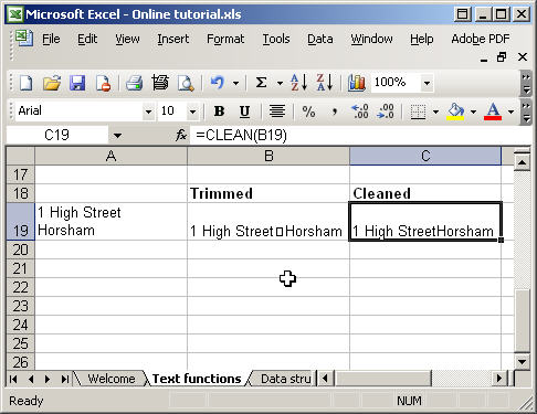 Excel text functions - trim and clean