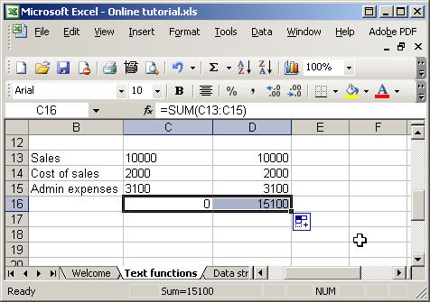 Excel text functions - value